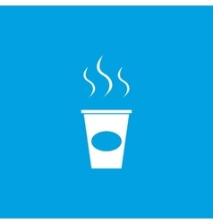Coffee to go icon white vector