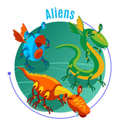 colored isometric aliens background vector image