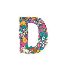 Colorful ornamental alphabet letter d font vector