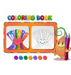Coloring book about friendship day vector