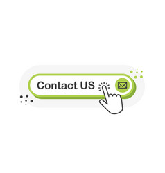 Contact us green 3d button with hand pointer vector