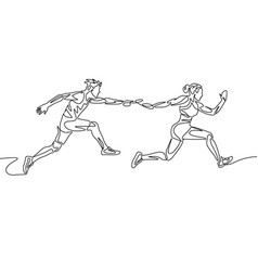 continuous one line drawing relay race runner vector image