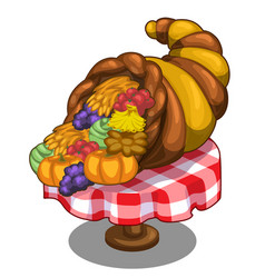 Cornucopia with fruits and vegetables on the table vector