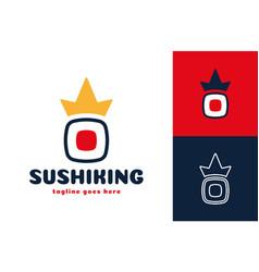 crown sushi logo japanese seafood restaurant vector image