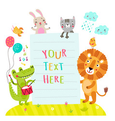 Cute animals and form form text vector