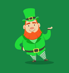 cute cartoon dwarf leprechaun saint patricks day vector image