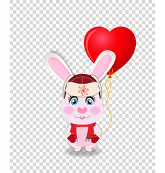 Cute cartoon rabbit in red hat with ear flaps vector