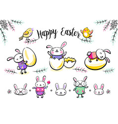 Cute easter bunny characters set with smiling vector