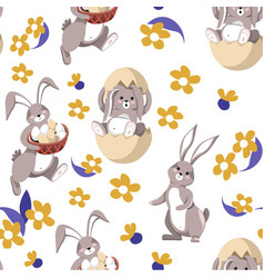 cute easter rabbit in egg shell seamless pattern vector image