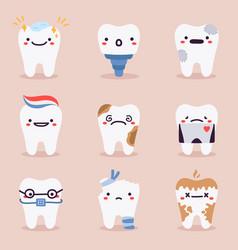 cute teeth mascots dental teeth characters with vector image