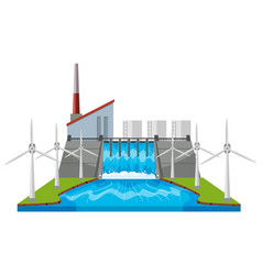 Dam and wind turbines by the river vector