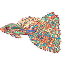 doodle zentangle fish zen art coloring page for vector image