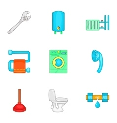 Equipment for bathroom icons set cartoon style vector image