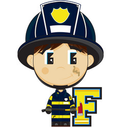 F is for fireman vector
