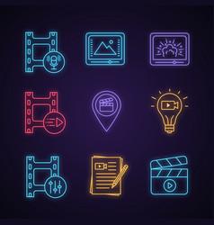 Film industry neon light icons set vector