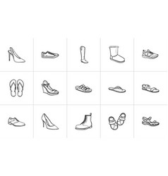 Footwear hand drawn outline doodle icon set vector
