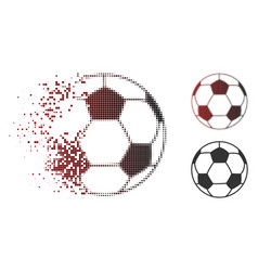 Fractured pixelated halftone football ball icon vector