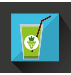 fresh juice green grapes and cup glass straw vector image