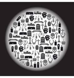 Funeral icons set in circle eps10 vector