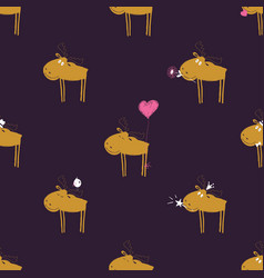 funny seamless pattern with moose vector image