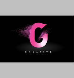 G letter logo with dispersion effect and purple vector