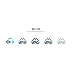 glasses icon in different style two colored vector image