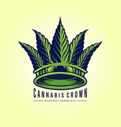 green leaf cannabis crown logo company vector image