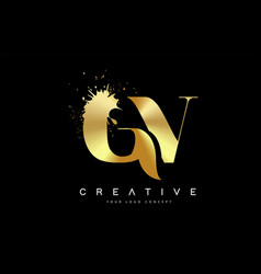 gv g v letter logo with gold melted metal splash vector image