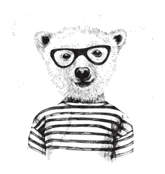Hand drawn of dressed up hipster bear vector image