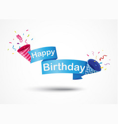 happy birthday banner with party popper vector image