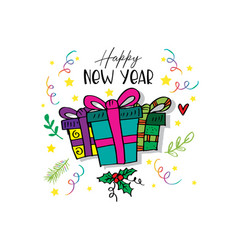 happy new year lettering and gift box vector image