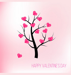 happy valentines day tree with pink hearts vector image