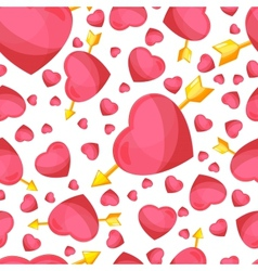 hearts and arrow seamless background vector image