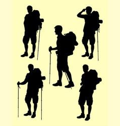 hiker gesture silhouette 01 vector image