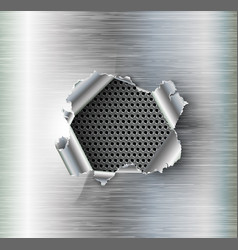Hole torn in ripped steel on metal background vector
