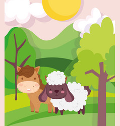 horse and sheep field trees sky sun clouds farm vector image