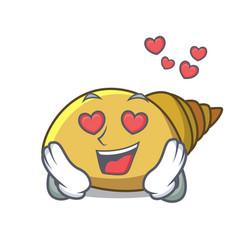 In love mollusk shell mascot cartoon vector