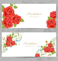 invitation cards with a red roses for your design vector image