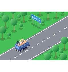 Isometric road trip vector image