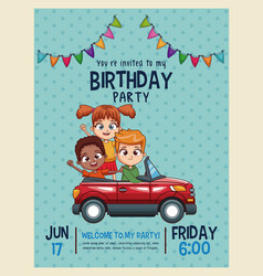 Kids birthday invitation card vector