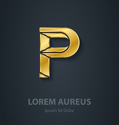 Letter P elegant gold font Template for company vector image