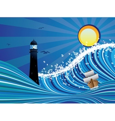 Lighthouse and boat in sea5 vector
