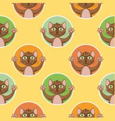 Little brown cats seamless pattern vector