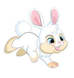 little cute funny white running rabbit vector image
