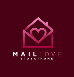 logo mail love gradient colorful style vector image