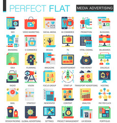 media advertising complex flat icon concept vector image
