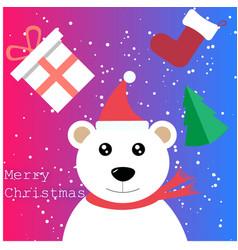 Merry christmas bear and christmas present vector