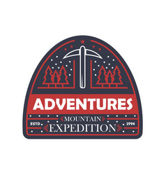 Mountain expedition vintage isolated badge vector