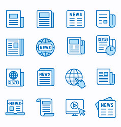 news flat line icon set vector image