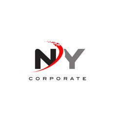 Ny modern letter logo design with swoosh vector